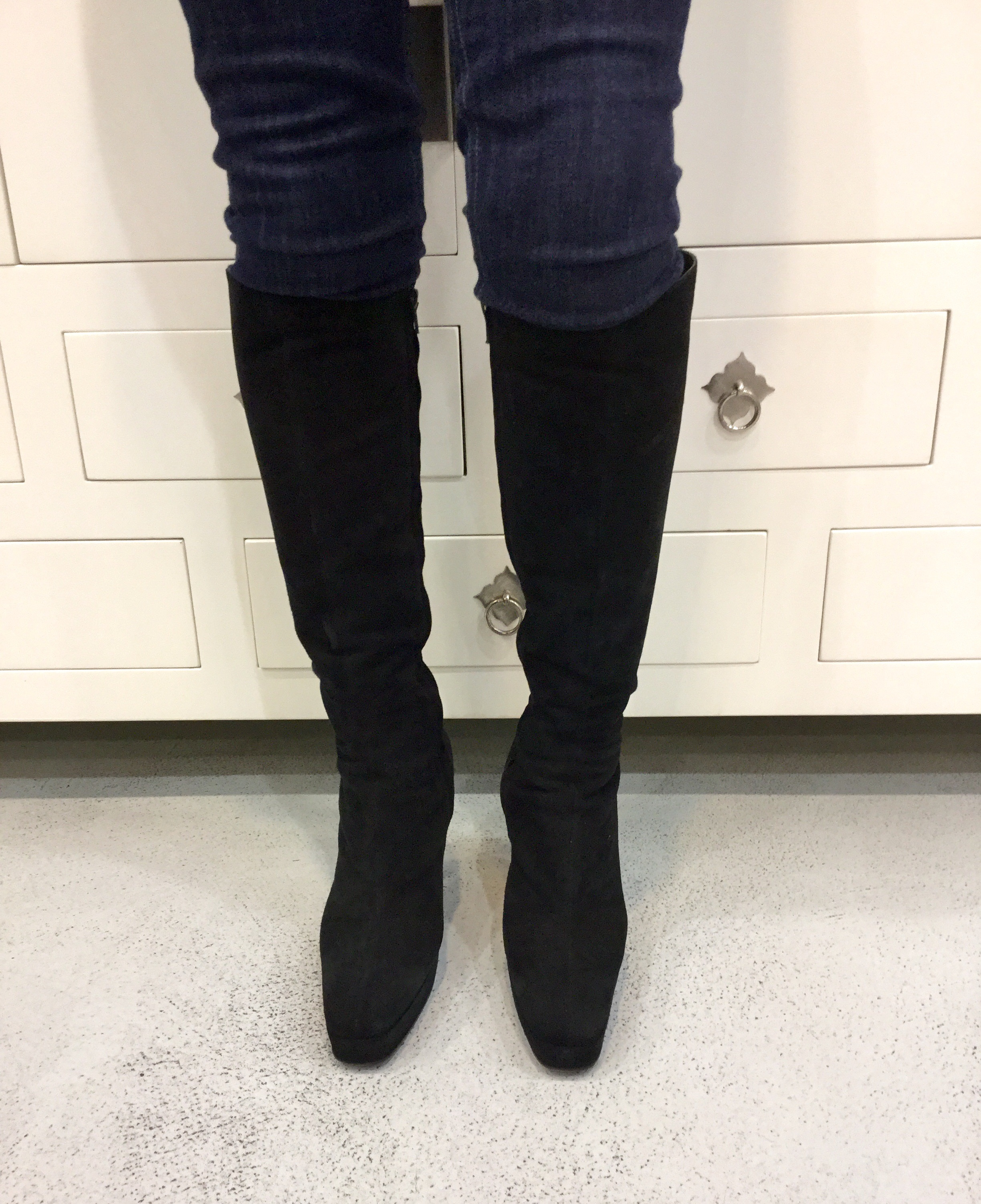 zPre-Owned Gucci Black Suede Tall Boots | All That & More Boutique