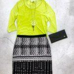 lime green top black white skirt